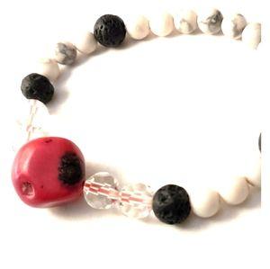 Handmade Coral/Howlite/Lava Stone Bracelet